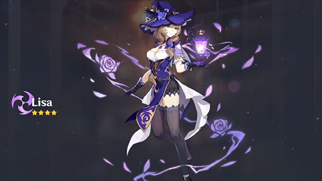 Lisa from Genshin Impact being summoned in the gacha.