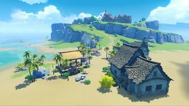 Genshin Impact - A private player island with a stone house on a beach.