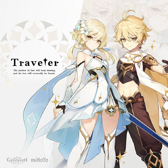 """The male and female variations of the Traveler from Genshin Impact. Intro text reads: """"Traveler: The pointer of fate will keep turning and the lost will eventually be found."""""""