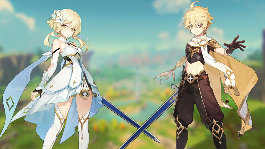Both male and female versions of Genshin Impact's starting Traveler character standing side-by-side.