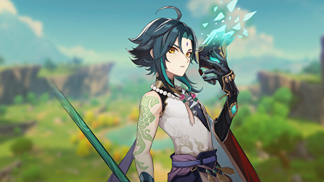 Promotional art of the character Xiao from Genshin Impact.