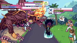 A screenshot of Get In The Car, Loser!, showing a turn-based RPG battle between the protagonists and a big flaming wolf guy made out of cables?