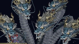 A multi-headed dragon looms over GetsuFumaDen's protagonist, who readies his sword for a fight.