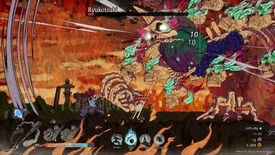 Getsufumaden - The main character battles a giant skeleton in a 2D sidescrolling environment.