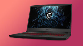 a photo of an msi gf65 shockwave laptop, with a medium build, red-backlit keyboard and rtx 3060 graphics card