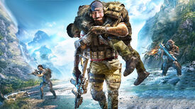 A member of the Ghost Recon: Breakpoint squad in the foreground, carrying a fallen soldier on his back. The squad member carrying a body also has the face of Gabe Newell.