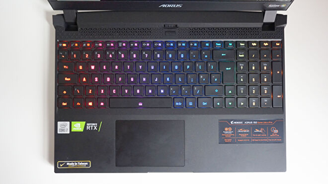 A photo of the Gigabyte Aorus 15G gaming laptop's keyboard