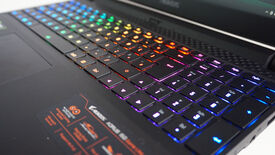 A photo of the Gigabyte Aorus 15G gaming laptop's RGB backlit keys