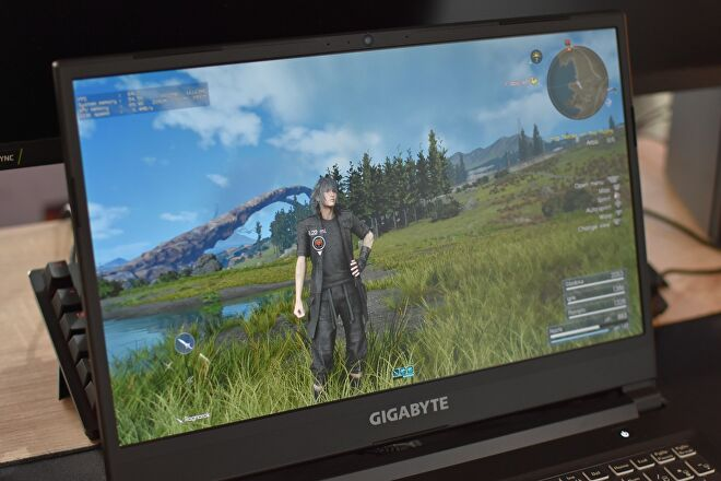 The Gigabyte G5 gaming laptop showing a scene from Final Fantasy XV on its display.