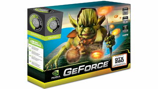 A graphics card box for Nvidia's GTX 280 GPU depicting a goblin holding a strange dagger with what looks to be a glowing bagel on top of it