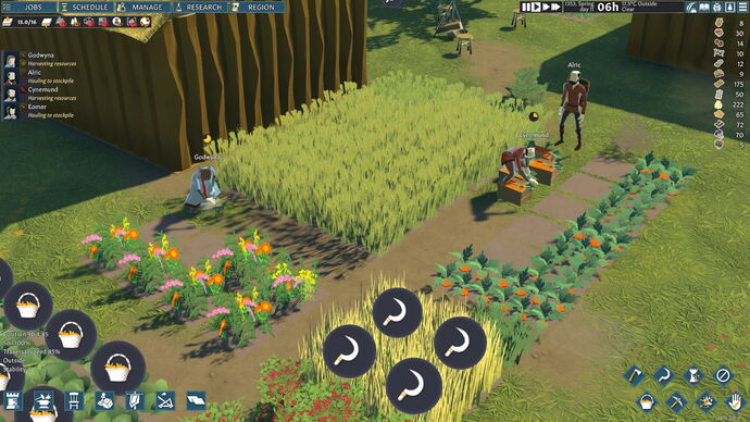 Farmers tend to crops in a field in Going Medieval
