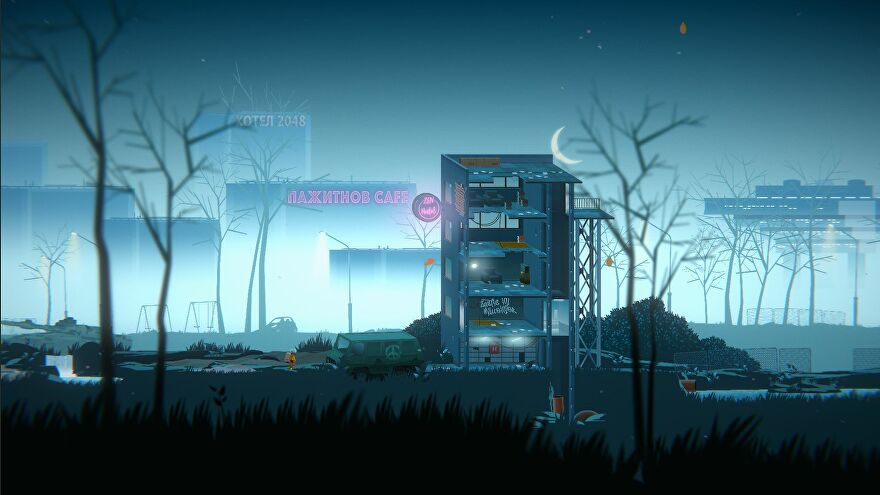 A screenshot of Golf Club Wasteland showing a grey, decaying urban environment. There's a cut-through of a crumbling building. Small beside it to the left is a man in an orange spacesuit.