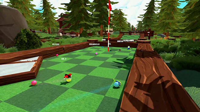 Players clump together in Golf With Your Friends.