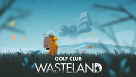Artwork for Golf Club Wasteland, showing a golfer in a space suit teeing off on a grassy planet surface