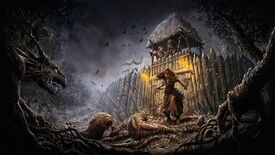 Gord key art showing a woman holding a torch staring angrily at the horrors outside of her settlement.