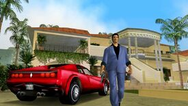 A screenshot of GTA: Vice City in which the game's protagonist is walking next to a fancy car, in front of a fancy house.