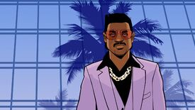 Grand Theft Auto: Vice City artwork of Lance Vance standing in front of a window-walled building with a reflection of a palm tree.