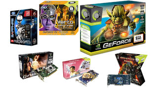 A montage of wacky graphics card boxes.