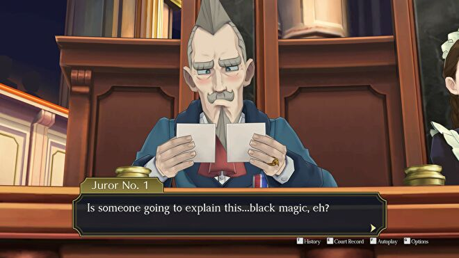 An old man tries to look at two stereoscopic 3D images while crossing his eyes in The Great Ace Attorney Chronicles