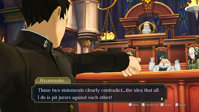 Ryunosuke points to the jury in The Great Ace Attorney Chronicles