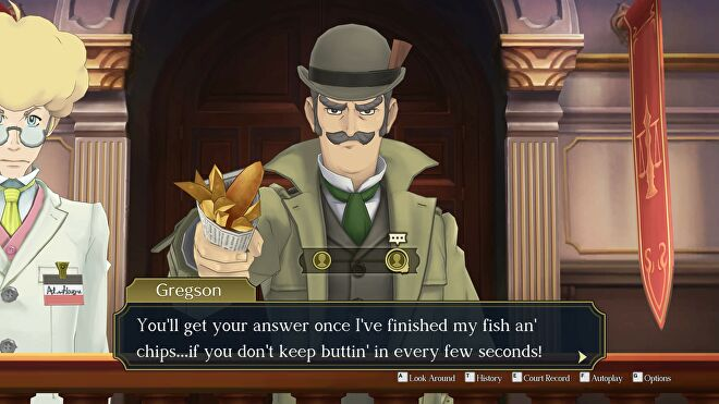 Inspector Gregson takes the stand in The Great Ace Attorney Chronicles