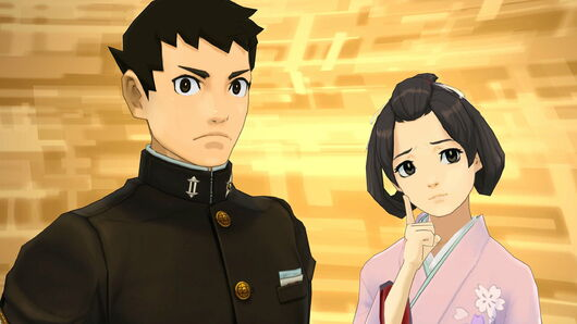 Ryunosuke and Susato against a yellow background in The Great Ace Attorney Chronicles