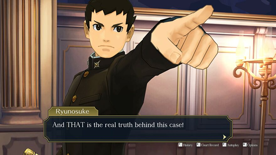 Ryunosuke points his finger in The Great Ace Attorney Chronicles