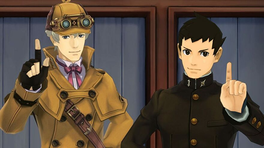 The Great Ace Attorney Chronicles - Ryunosuke Naruhodo and Herlock Sholmes stand next to one another in a court room.
