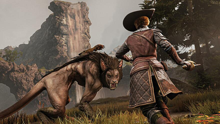 GreedFall expansion - The protagonist runs toward a large cat-like creature with a mane and tail, ready to fight.