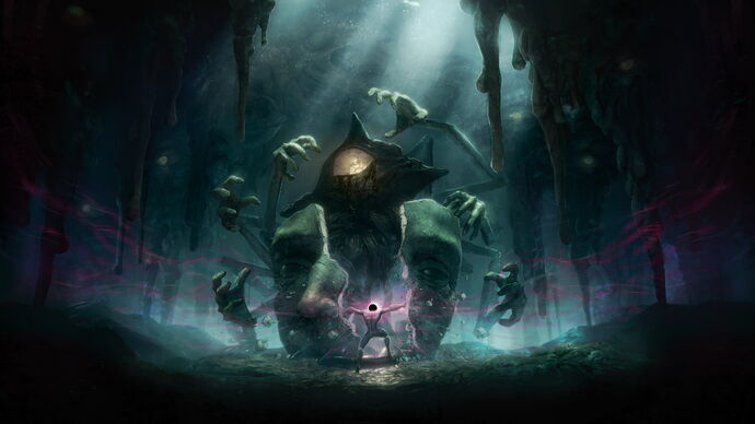 Art from GRIME which shows the black hole-headed protagonist about to fight a huge monster.