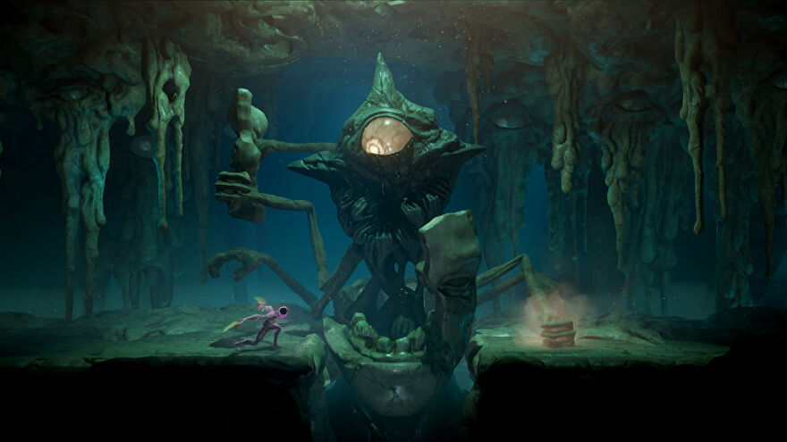 Grime - The player character runs beneath a boss that looks like a giant rock with a single eye and several arms.