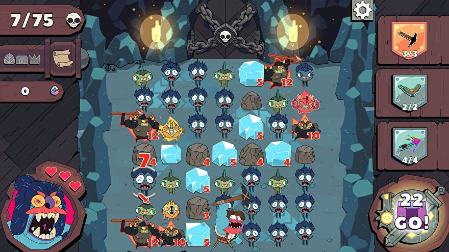 A screenshot of Grindstone's Lost Lair update, showing a grid of monsters in a mine setting.