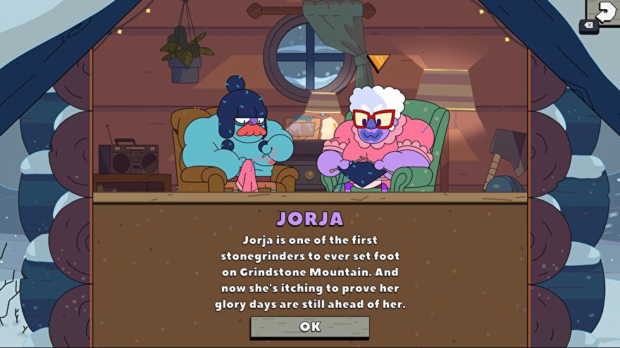 A screenshot of Grindstone's new update, introducing the first new playable character, Jorja, a veteran stonegrinder.