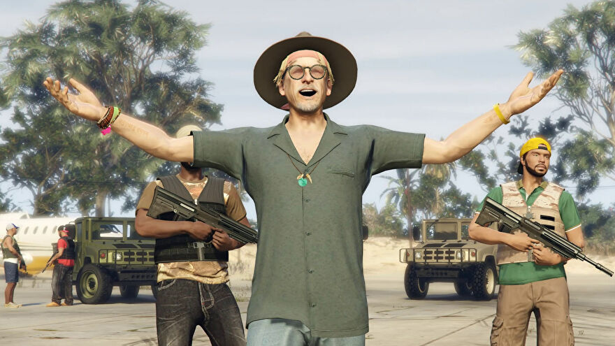 A GTA Online screenshot of El Rubio, the drug lord whose party island we've come to rob.