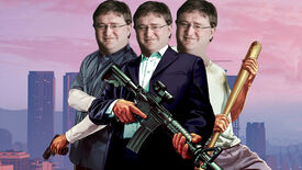 Michael, Trevor and Franklin from Grand Theft Auto V standing in front of a Los Santos skyline, with Gabe Newell's head on their bodies