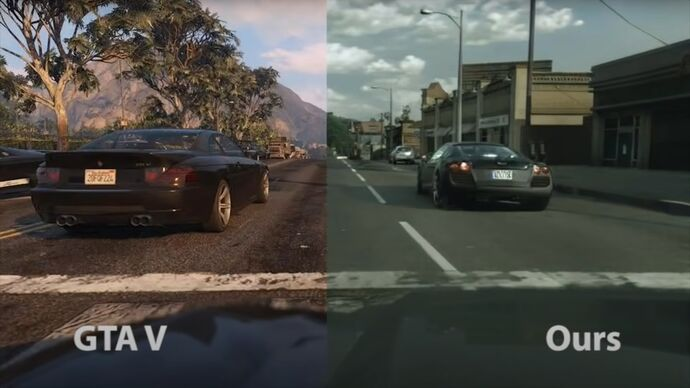 A screenshot of Grand Theft Auto V, the left of the shot showing a Los Santos with a car as they normally look, the right showing the same scene after it's been put through an AI which makes it more photorealistic.