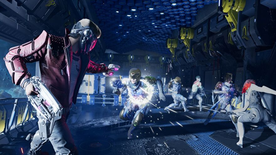 Star Lord fires laser pistols at a bunch of space thugs, as the other Guardians get stuck in too.
