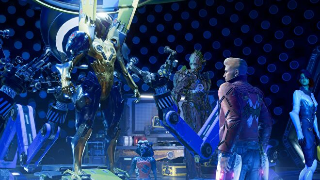 The Guardians star up at a glistening set of powerful armour.