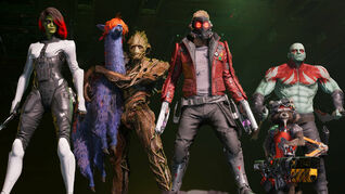 The gang posing in a Marvel's Guardians of the Galaxy screenshot.