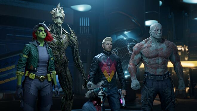 All the Guardians Of The Galaxy stood next to each other.
