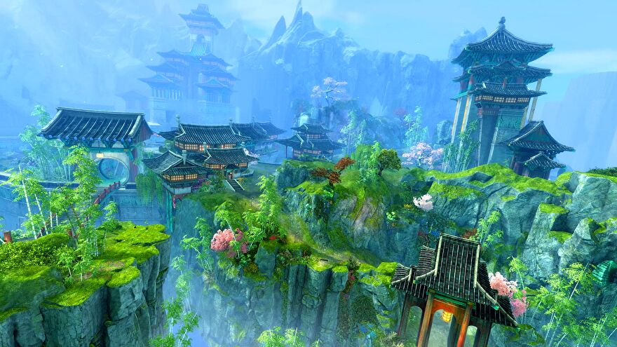 A screenshot of Guild Wars 2 expansion End Of Dragons showing Asian-inspired buildings emerging from a green forest.