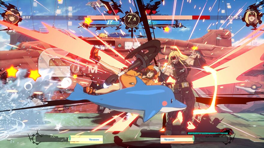 Guilty Gear Strive - May fights against ZAPD-1 with a dolphin