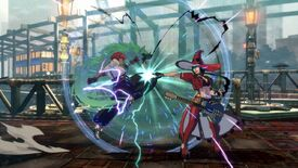 Giovanna and the 'hard rock witch' I-No fight in a Guilty Gear Strive screenshot.