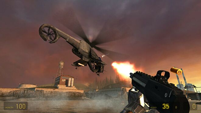 An image from Half Life 2 which shows the player firing an SMG at a helicopter flying over a lake.