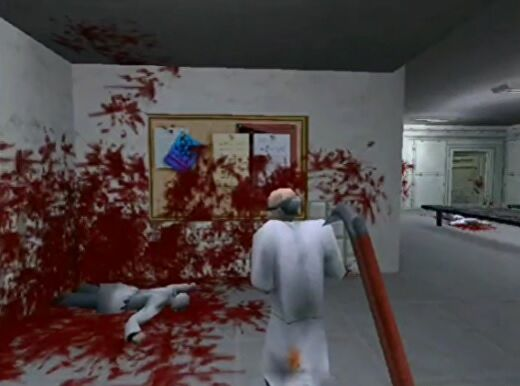 A rejected Half-Life mockup image shared by former designer Brett Johnson. Gordon carries a crowbar while chasing a scientist through the locker rooms. There's a dead scientist lying on the ground and a lot of blood splattered on the floor and walls.