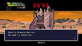 A screen from Half Minute Hero. The text says 'Heavily armed warrior, my name is Sebastian'.
