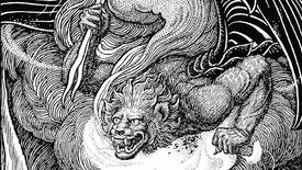 A black and white illustration of a griffin gargoyle creature