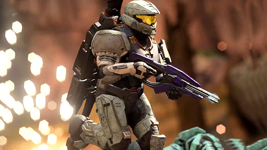 A player in Halo Infinite multiplayer running from an explosion while holding a gun in their hands