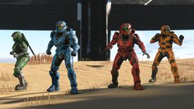 Four Spartans, all rocking primary colours, stand ready for battle in Halo Infinite.