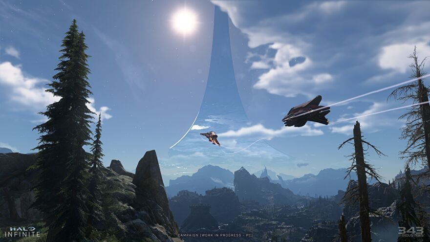A scenic view of aerial vehicles flying above an alien planet, with a Halo Array visible in the sky.